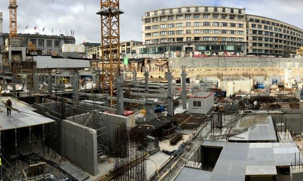 Utilisation du mortier de scellement pour la BNP ParisBas Fortis à Bruxelles
